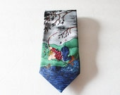 BLOWOUT 40% off sale Vintage 80s Novelty Man Fishing Funny Necktie - Balancine Hot Cakes Gary Patterson