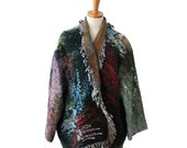 BLOWOUT 40% off sale Vintage 90s Thomas Kinkade One of a Kind Fringe Blanket Carpet Coat - open front - Women one size fits many