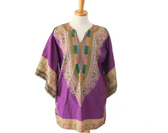 Vintage 70s Purple Dashiki Hippie Tunic // ethnic Boho // Women Medium, Men Small