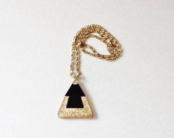 BLOWOUT 40% off sale Vintage Black and Gold Pyramid Triangle Pendant Necklace - 1970s Costume Jewelry - Sarah Coventry
