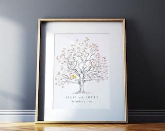 ON SALE Fingerprint tree Wedding Guest Book, Guest Book Alternative,  Medium Twisted Oak, Orginal Design,  thumbprint tree, Rustic Wedding