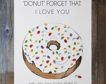 Wedding guest book alternative, fingerprint sprinkles donut, w/5 inks, similar to fingerprint tree, Great for parties, teacher appreciation