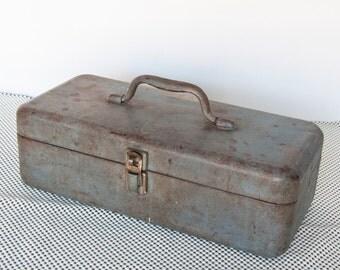 Rustic Vintage Metal Tackle Box