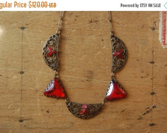 SALE Art Deco red glass and enamel Czech necklace ∙ 1930s Czech glass necklace