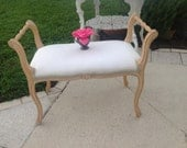Vintage SHABBY CHIC BENCH French Style Bench Stool Paris Apt Hollywood Regency Cottage Style 30 Inches Long On Sale at Retro Daisy Girl