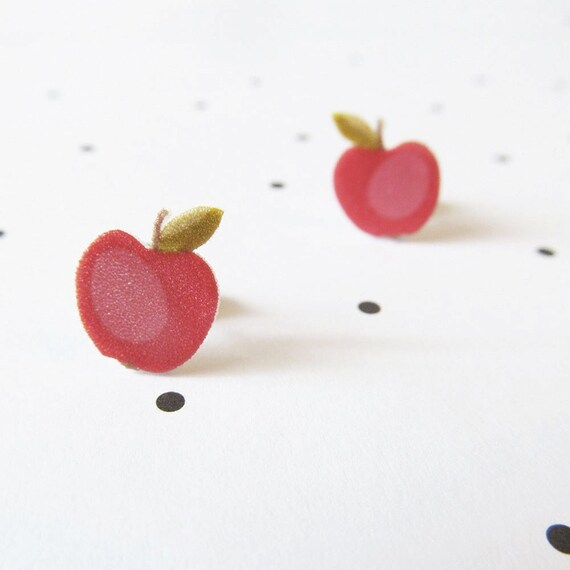 apple, red, red apple, autumn, earring, teacher, stud, shrink plastic,  stainless stud, nickel free, light, handmade, les perles rares