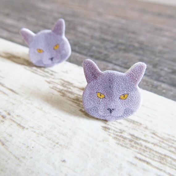 Small, gray, russian blue, cat, orange, eye,  earrings, shrink plastic,  stainless stud, handmade, les perles rares