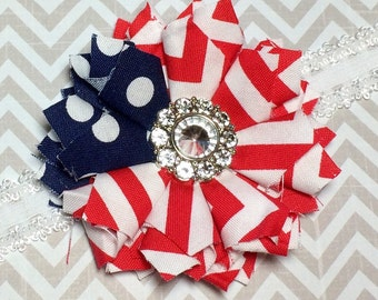 Red White and Blue Fabric Flower Headband