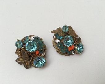 Robert 1950s Clip Earrings Headlight Stones Unsigned Costume Jewelry