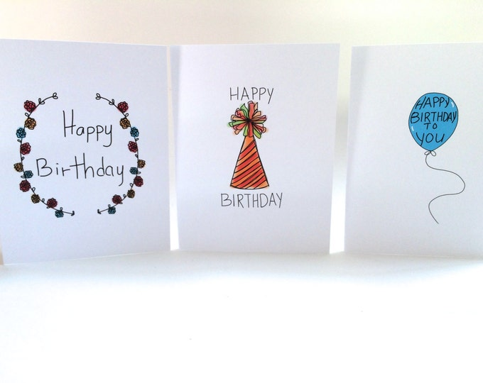 Birthday Card Set, Pack of Birthday Cards set of three, Doodle Cards, Pack of Cards made on recycled paper and envelope