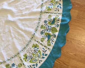 Vintage linen tablecloth turquoise and green modern design wirh birds at Modern Logic