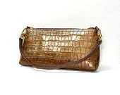 Vintage 1980s Small Handbag Bronze Brass Croc Embossed Leather Clutch