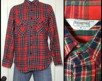 Vintage 1970's 5 Brother Heavy Flannel Plaid Shirt size Medium Red Blue green all cotton made in USA