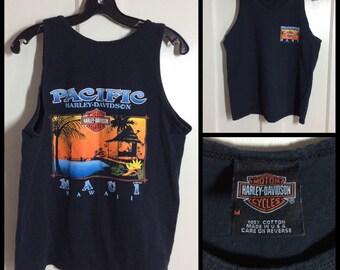1990's Harley Davidson Motorcycle black Tank top shirt size Medium Pacific Maui Hawaii surfer
