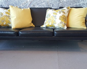 Mid Century sofa couch MCM black faux leather can do custom upholsstery