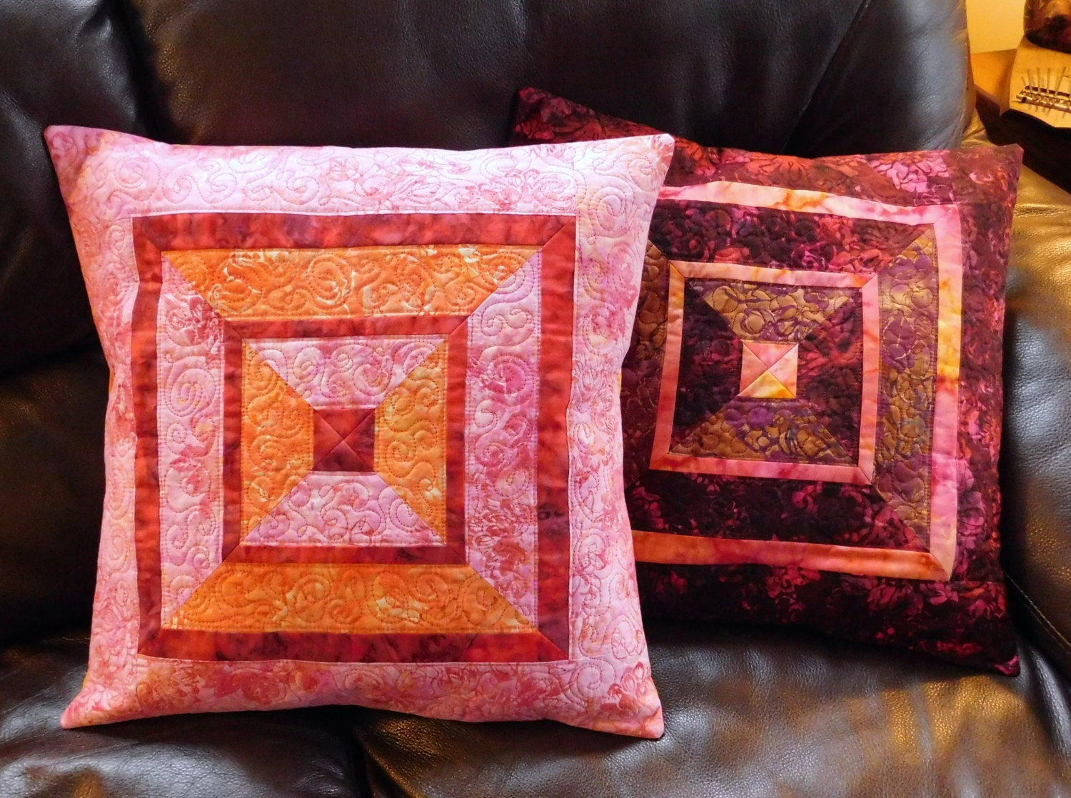 Quilted Batik Accent Pillow Covers Shams 18 Inch Crimson Gold