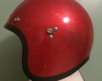 1966 Red Metal Flake Motorcycle 3/4 Helmet.