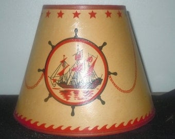 Vintage 1950s Lamp Shade lampshade with Pirate ship and Anchor