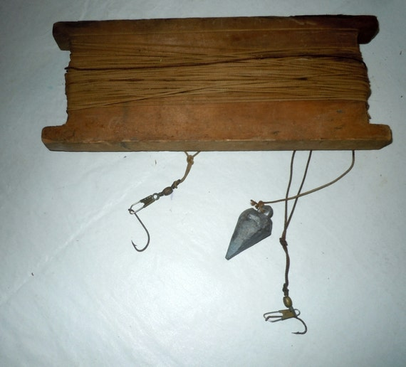 Vintage wooden fishing wooden hand line with hooks and sinker for Hand line fishing