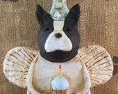 Boston Terrier Birthday Angel,OOAK, handmade from paper mache, BOSTON TERRIER Birthday