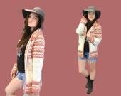 Boho crochet sweater cardigan handmade festival hipster mauve buttercream zip up IngridIceland vtg 70s hippie bohemian