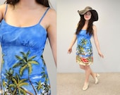 Sundress Hawaiian sun dress festival surfer blue beach swimsuit coverup spring fashion hipster indie vacation resort XL extra large