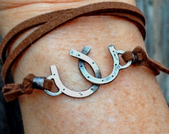 Cowgirl leather wrap double Horseshoe bracelet - good luck, sterling silver jewelry