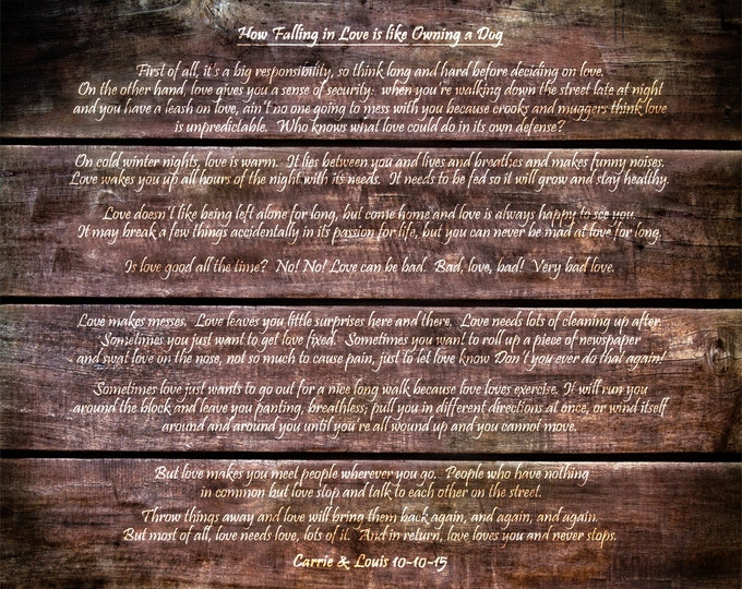 5th Anniversary Gift Wedding Vow Art Wedding Vow Frame Wedding Vows Print REAL WOOD Word Art  Wedding Vows Poem Song Gift on Wood 16x20