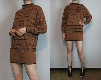 80s KNIT METALLIC STRIPED Vintage Knitted Lurex Rayon Stripes Mock Turtleneck Sweater Mini Dress xs Small s/m 1980s