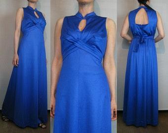 70s Blue OPEN BACK Keyhole Neck Maxi Dress Vintage 70s Blue Empire Waist Maxi Dress Criss Cross Belted Maxi Dress Blue Sleeveless Maxi Dress