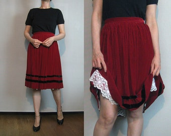 50s RED VELVET STRIPES vtg Pleated Pleats Wine Black Striped Mini Skirt xs Small 1950s