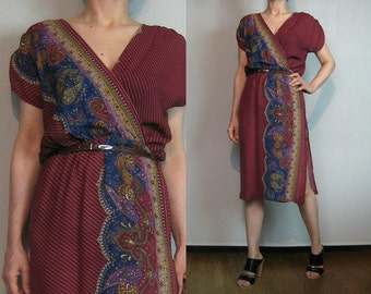 70s STRIPED PAISLEY WRAP Vintage V Neck Faux Wrap Cross Over Wine Maroon Burgundy Blue Sage Green Purple Rayon Dress xs Small s/m 1970s