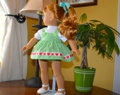 18 Inch Doll White Short Sleeve Tshirt, Green and White Gingham Sundress and Matching Panties by SEWSWEETDAISY