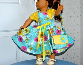 18 Inch Doll Floral Print Full Circular Skirt Sleeveless Dress, Bolero Jacket and Matching Handbag by SEWSWEETDAISY