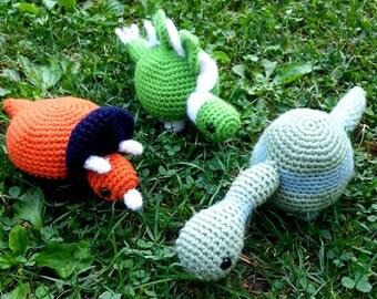 Crochet Dinosaur Toys, Set of 3 Dinosaur Stuffed Animals, Stegosaurus, Brontosaurus, Triceratops Plushies