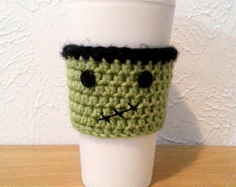 Frankie, Frankenstein Cup cozy, Crochet Cup Sleeve, Coffee Cup Holder