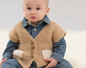 Knitting Pattern Pocketed Vest Instant Download Knitting Pattern Vest  Knitted Baby Sweater