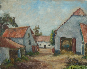 Vintage French Farmhouse Impressionist Painting Oil on Board Signed