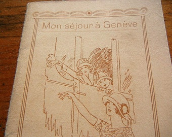 Vintage Travel Souvenir from Hotel de Russie Geneva Switzerland 1925 in French with ads and services for the hotel area Lakeside