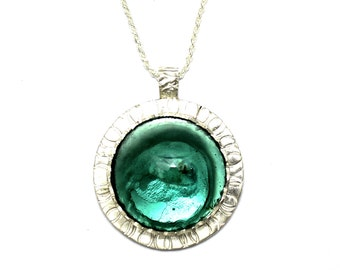 Rare Hand Made 925 Silver Ancient Roman Glass Pendant Necklace Best Quality