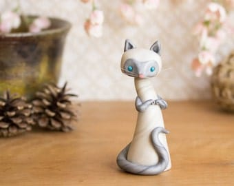 Lilac Point Siamese Cat Sculpture with Cherry Blossoms by Bonjour Poupette
