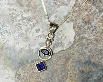 Iolite Necklace, Blue Necklace, Indigo Necklace, Natural Stone Necklace, Sterling Silver Necklace, Iolite Jewelry, Gemstone Necklace