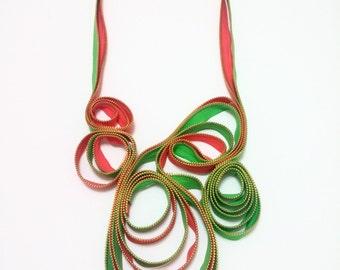 Zipper Textile Pink Green Zippers Handmade Statement Necklace