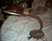 Goose Neck Adjustable Lamp--Collectible--Antique--Cast Iron--Desk or Table Lamp