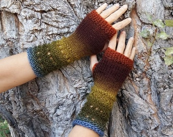 Knitted Fingerless Gloves Hand Arm Warmers Vegan Gloves Long Knitted Mittens Boho Wrist Warmers Womens Gift Woodland Brown Green Knit Gloves