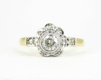 Old Cut Diamond Engagement Ring, Daisy Flower Shape Old European with Rose Cut Diamond Halo Ring. Circa 1920s, 14 Carat & Platinum.