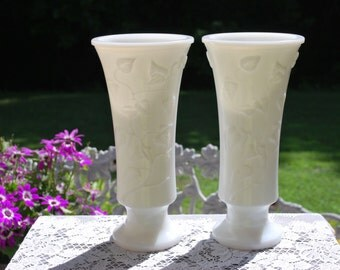 Gorgeous Matching Pair of Tall Ivy Pattern Vintage Milk Glass Wedding Table Centerpieces