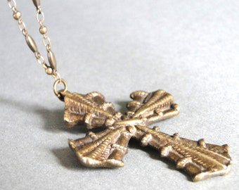 Jewelry / Necklace / Vintage Ornate Cross / Pendant Necklace / Fancy Brass Link Chain / Statement Necklace / Vintage Bronze Repousse Cross