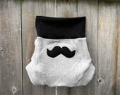 Upcycled Wool Soaker Cover Diaper Cover With Added Doubler Pale Gray & Black  With Mustache Applique LARGE 12-24M Kidsgogreen