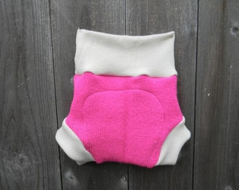 Upcycled Wool And Organic Merino Wool Interlock Soaker Cover Diaper Cover With Added Doubler Hot Pink MEDIUM 6-12M